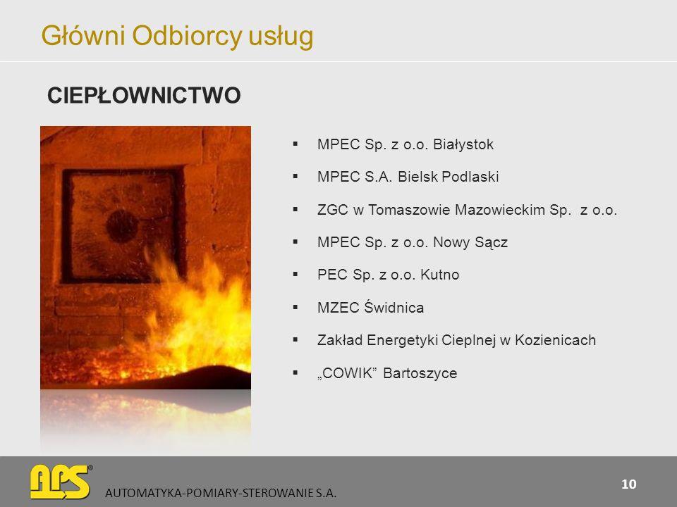Główni Odbiorcy usług CIEPŁOWNICTWO MPEC Sp. z o.o. Białystok