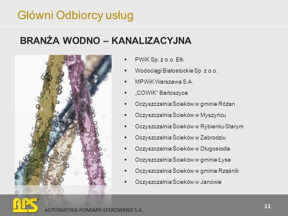 Główni Odbiorcy usług BRANŻA WODNO – KANALIZACYJNA PWiK Sp. z o.o. Ełk