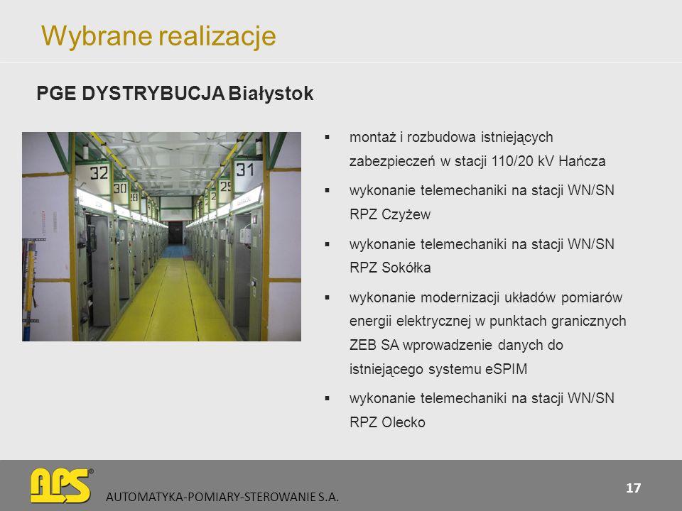 Wybrane realizacje PGE DYSTRYBUCJA Białystok