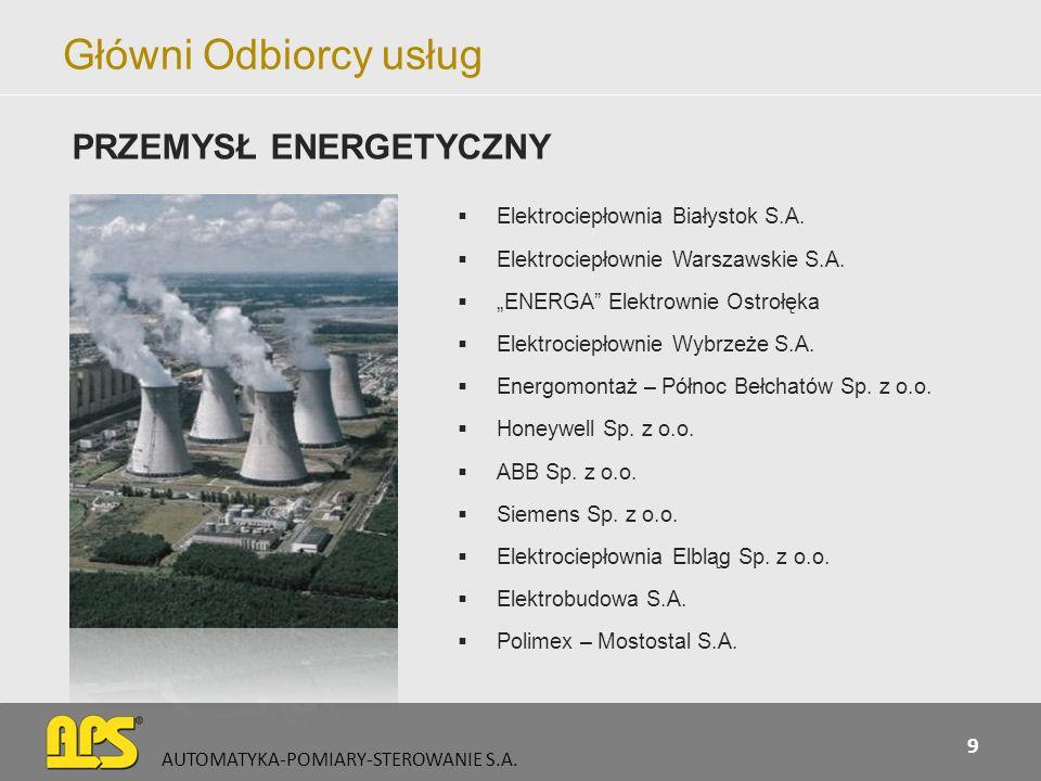 Główni Odbiorcy usług PRZEMYSŁ ENERGETYCZNY