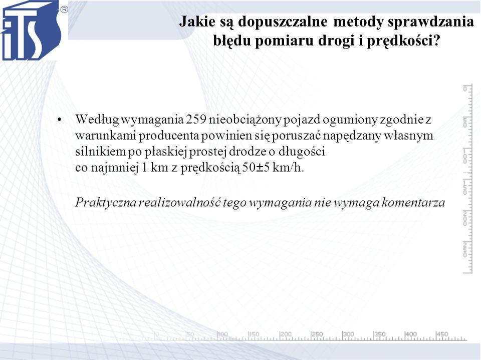 Jakie są dopuszczalne metody sprawdzania błędu pomiaru drogi i prędkości