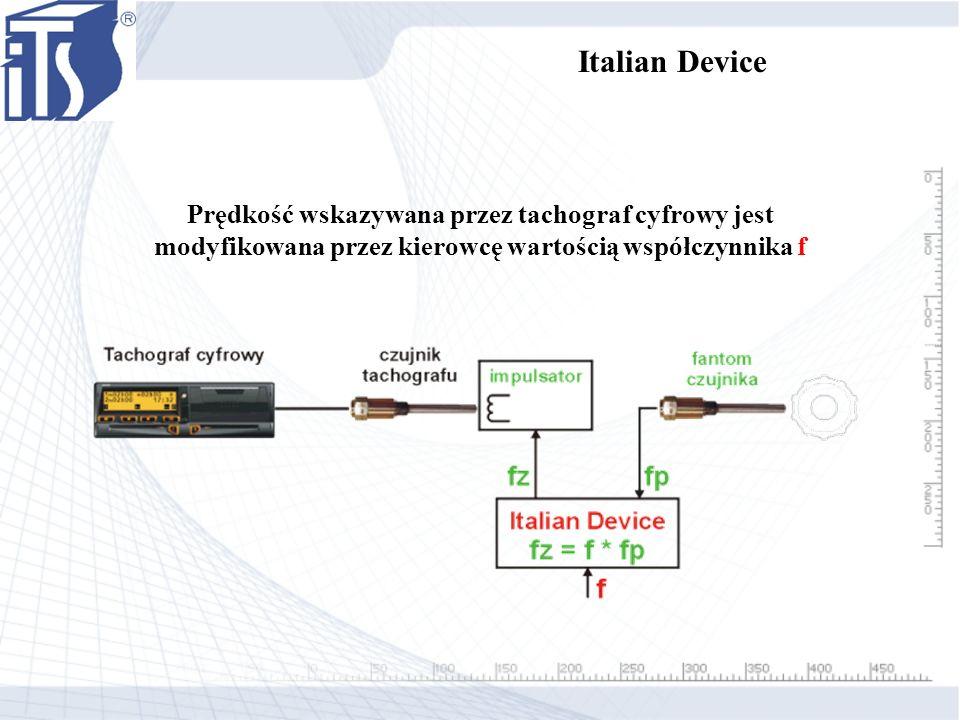 Italian Device Prędkość wskazywana przez tachograf cyfrowy jest modyfikowana przez kierowcę wartością współczynnika f.