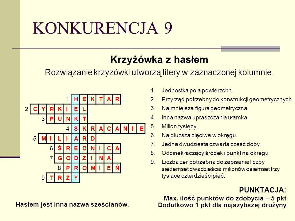Rozwiązanie krzyżówki utworzą litery w zaznaczonej kolumnie.