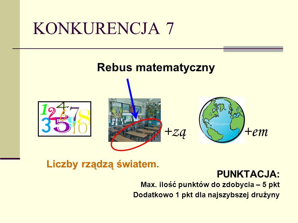 KONKURENCJA 7 +zą +em Rebus matematyczny Liczby rządzą światem.