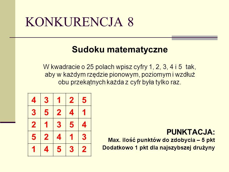 KONKURENCJA 8 Sudoku matematyczne 4 3 1 2 5 PUNKTACJA: