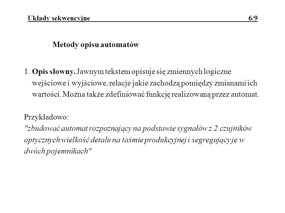 Metody opisu automatów