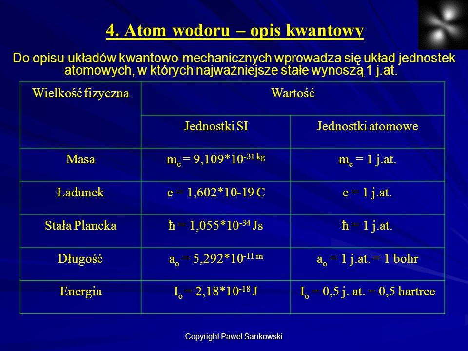 4. Atom wodoru – opis kwantowy