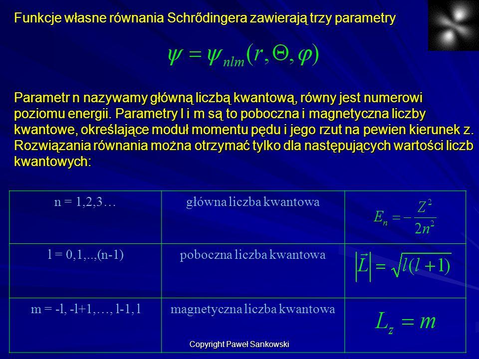 Funkcje własne równania Schrődingera zawierają trzy parametry