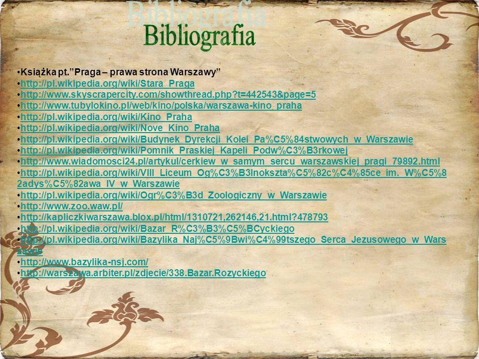 Bibliografia Książka pt. Praga – prawa strona Warszawy