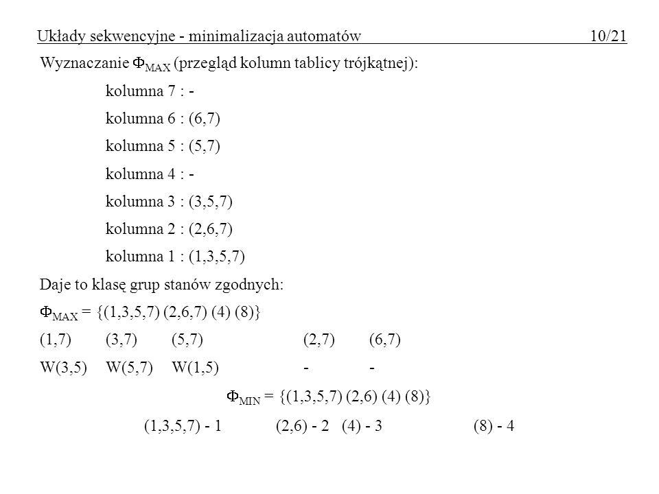 Układy sekwencyjne - minimalizacja automatów 10/21