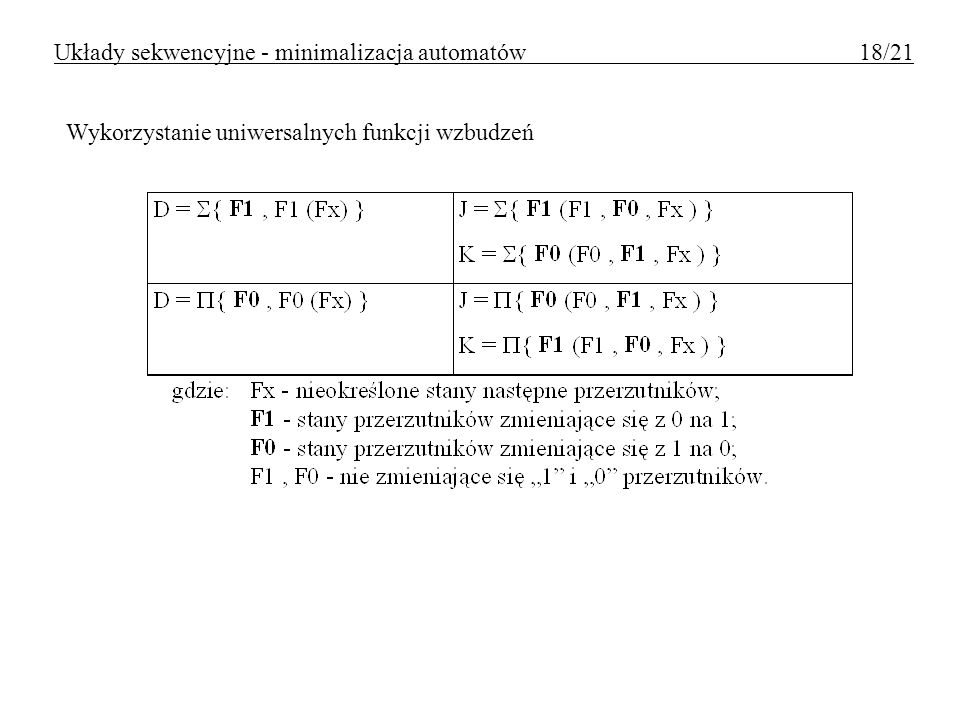 Układy sekwencyjne - minimalizacja automatów 18/21