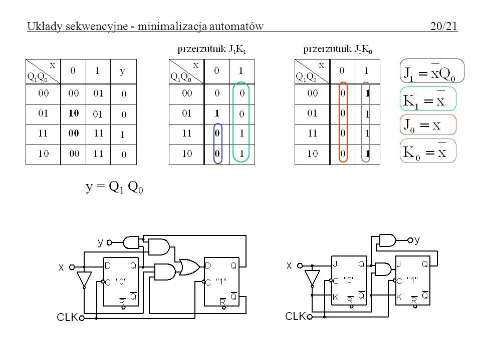 Układy sekwencyjne - minimalizacja automatów 20/21