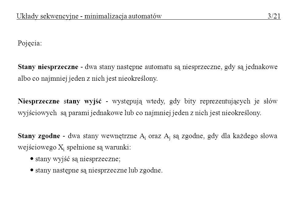 Układy sekwencyjne - minimalizacja automatów 3/21
