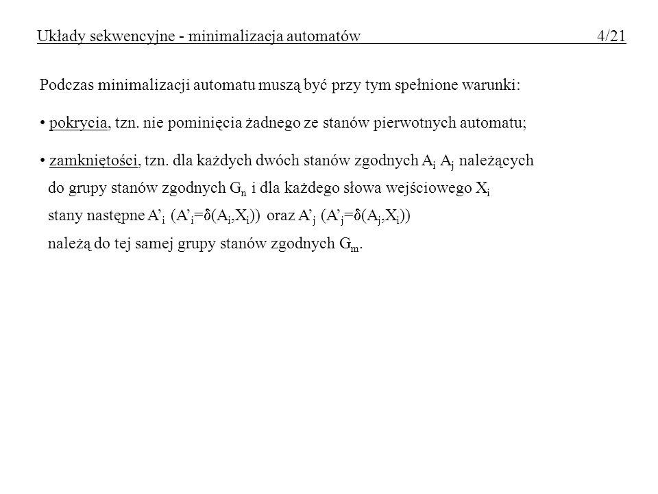 Układy sekwencyjne - minimalizacja automatów 4/21