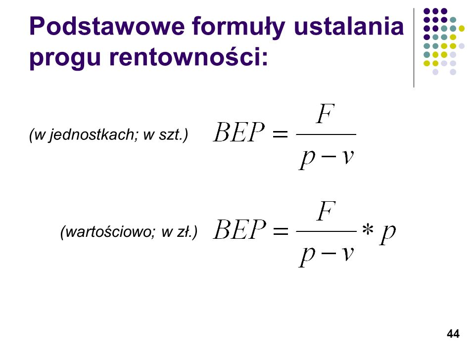 Podstawowe formuły ustalania progu rentowności: