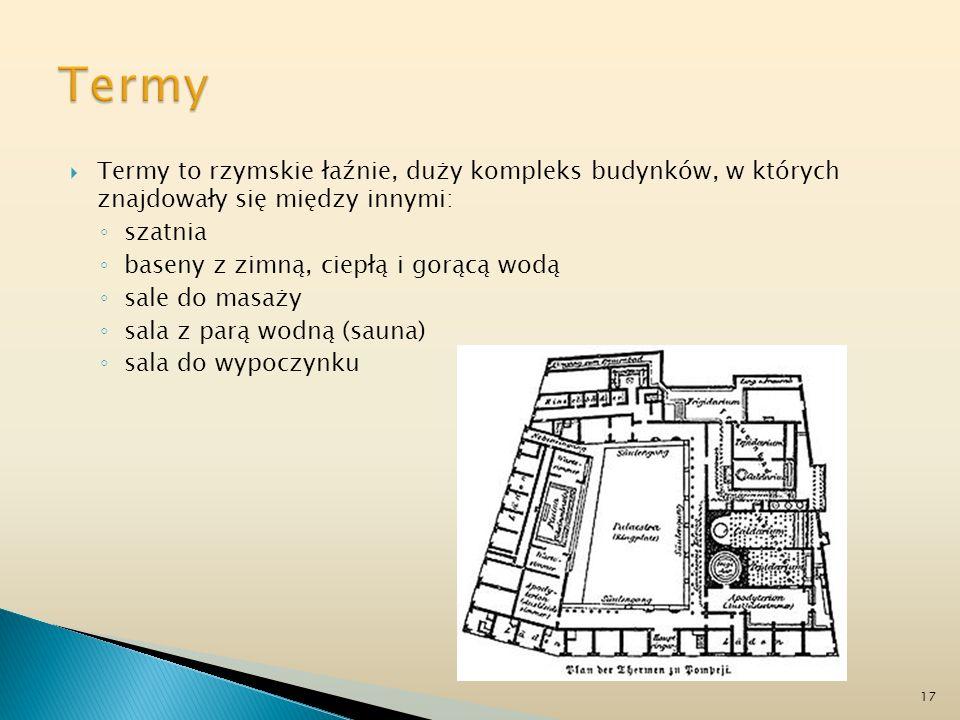 Termy Termy to rzymskie łaźnie, duży kompleks budynków, w których znajdowały się między innymi: szatnia.