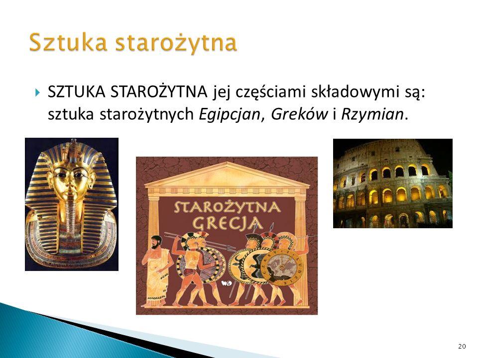 Sztuka starożytna SZTUKA STAROŻYTNA jej częściami składowymi są: sztuka starożytnych Egipcjan, Greków i Rzymian.