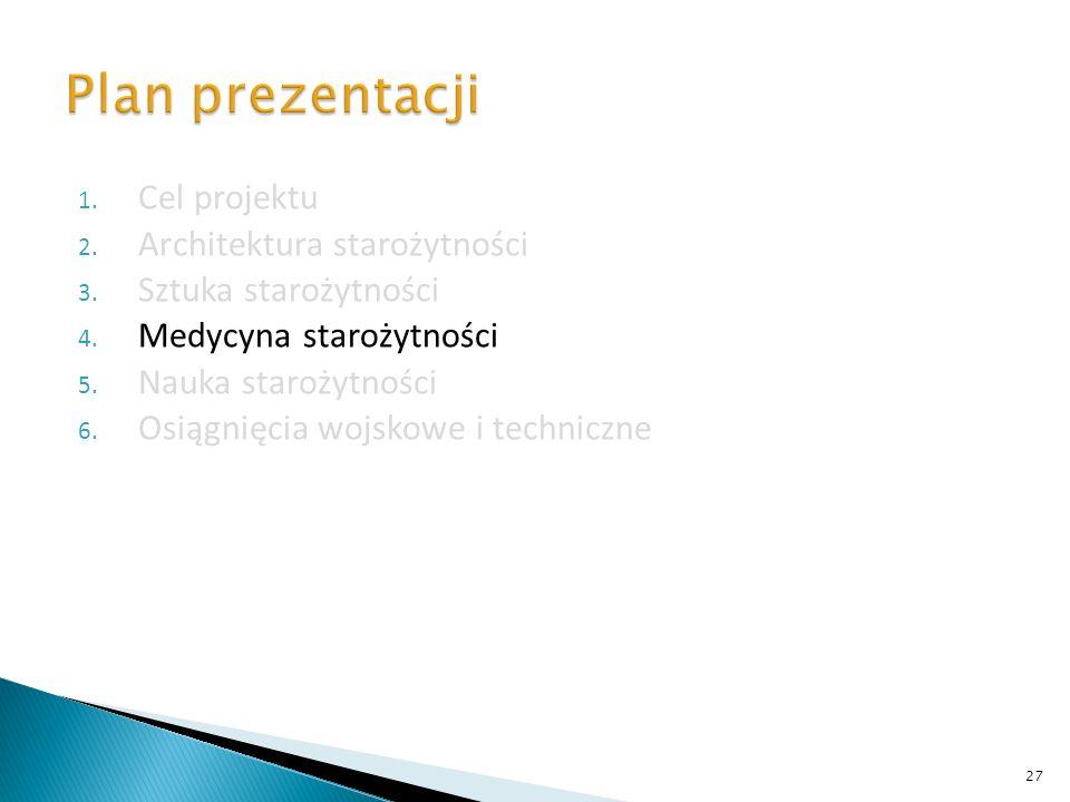 Plan prezentacji Cel projektu Architektura starożytności