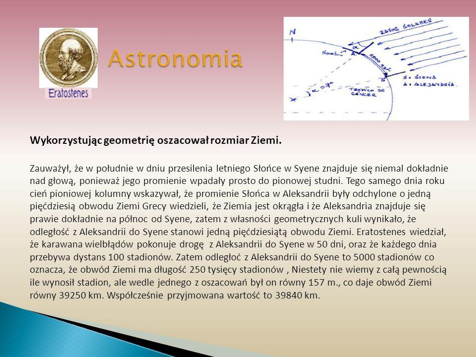 Astronomia Wykorzystując geometrię oszacował rozmiar Ziemi.