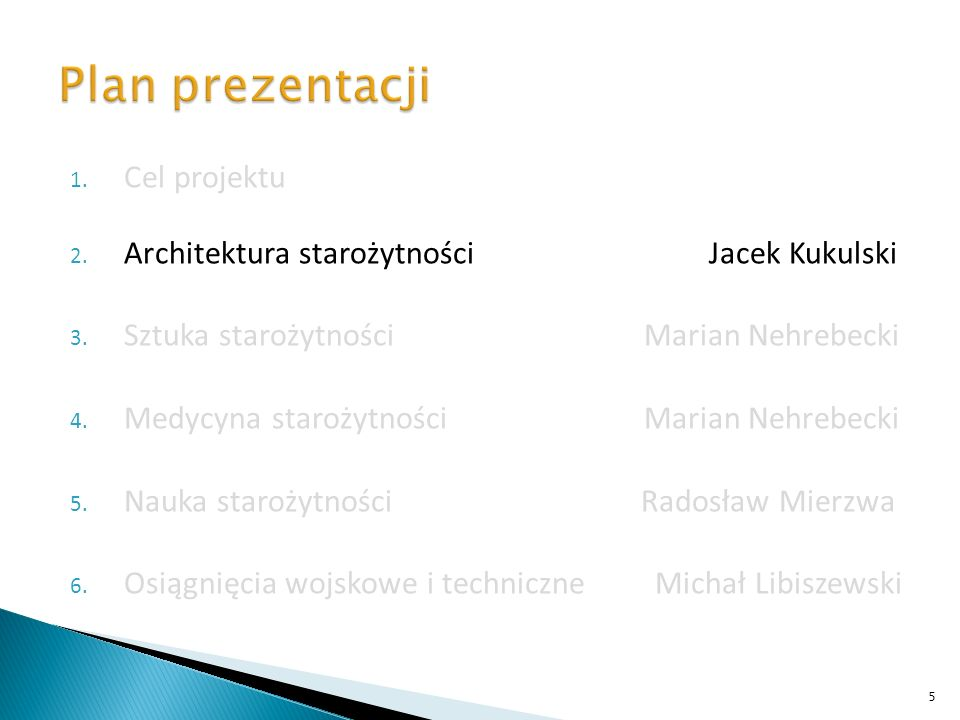 Plan prezentacji Cel projektu
