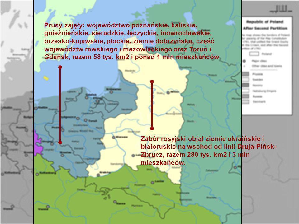 Prusy zajęły: województwo poznańskie, kaliskie, gnieźnieńskie, sieradzkie, łęczyckie, inowrocławskie, brzesko-kujawskie, płockie, ziemię dobrzyńską, część województw rawskiego i mazowieckiego oraz Toruń i Gdańsk, razem 58 tys. km2 i ponad 1 mln mieszkańców