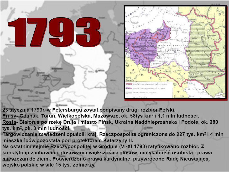 179323 stycznia 1793r. w Petersburgu został podpisany drugi rozbiór Polski.