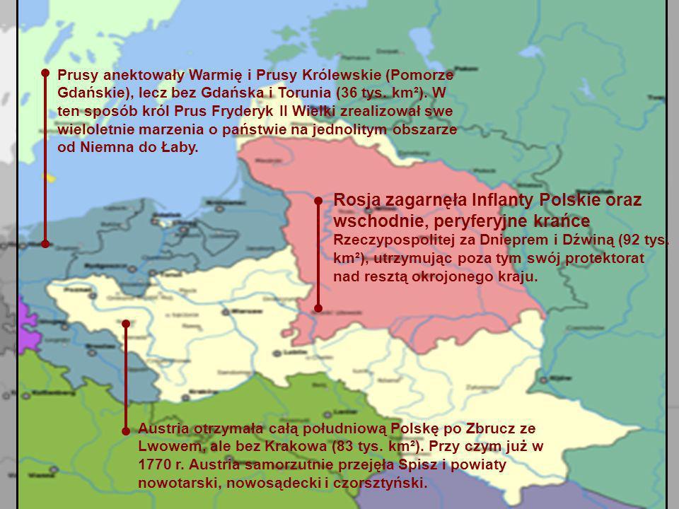 Prusy anektowały Warmię i Prusy Królewskie (Pomorze Gdańskie), lecz bez Gdańska i Torunia (36 tys. km²). W ten sposób król Prus Fryderyk II Wielki zrealizował swe wieloletnie marzenia o państwie na jednolitym obszarze od Niemna do Łaby.