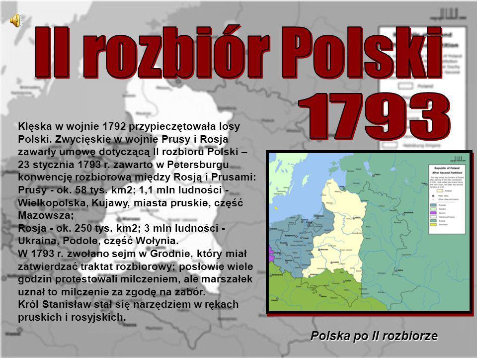 II rozbiór Polski 1793 Polska po II rozbiorze