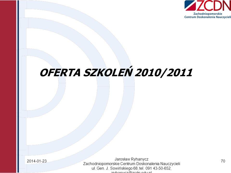 OFERTA SZKOLEŃ 2010/2011 Jarosław Ryhanycz 2017-03-28