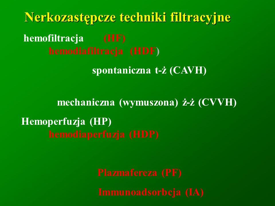 Nerkozastępcze techniki filtracyjne mechaniczna (wymuszona) ż-ż (CVVH)