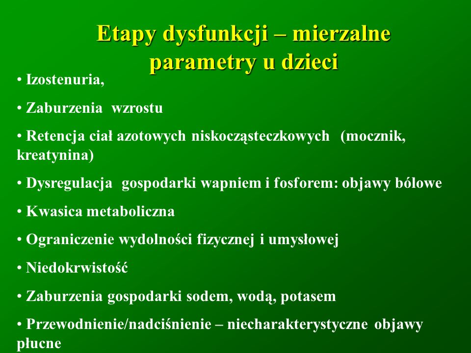Etapy dysfunkcji – mierzalne parametry u dzieci