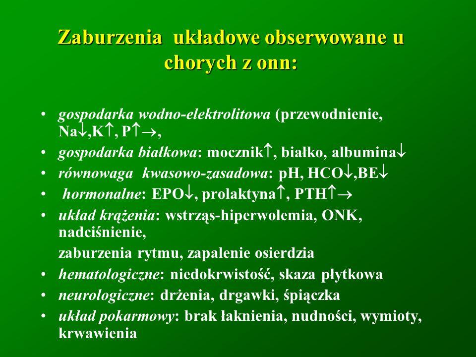 Zaburzenia układowe obserwowane u chorych z onn: