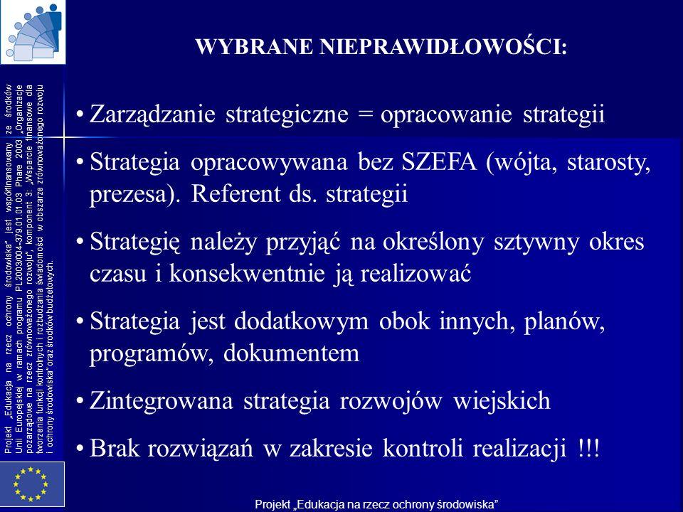 Zarządzanie strategiczne = opracowanie strategii