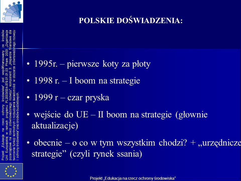 1995r. – pierwsze koty za płoty 1998 r. – I boom na strategie