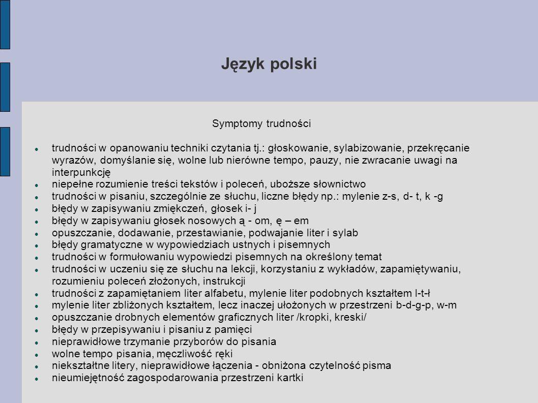 Język polski Symptomy trudności