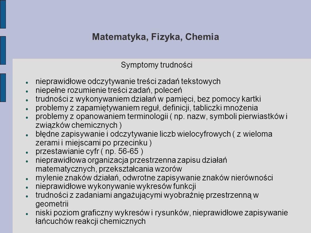 Matematyka, Fizyka, Chemia
