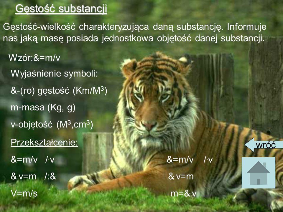 Gęstość substancjiGęstość-wielkość charakteryzująca daną substancję. Informuje nas jaką masę posiada jednostkowa objętość danej substancji.