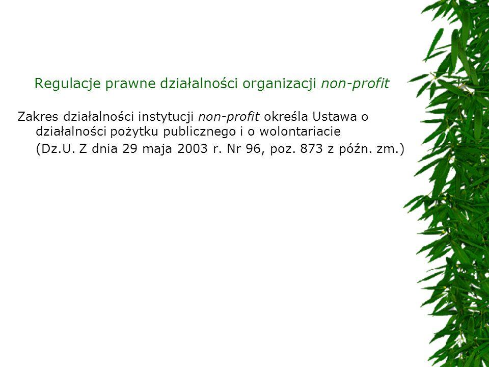 Regulacje prawne działalności organizacji non-profit