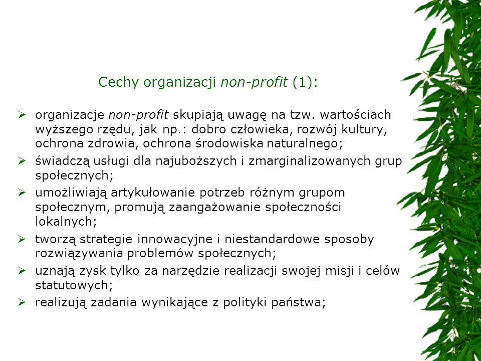 Cechy organizacji non-profit (1):