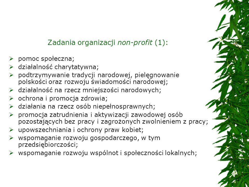 Zadania organizacji non-profit (1):