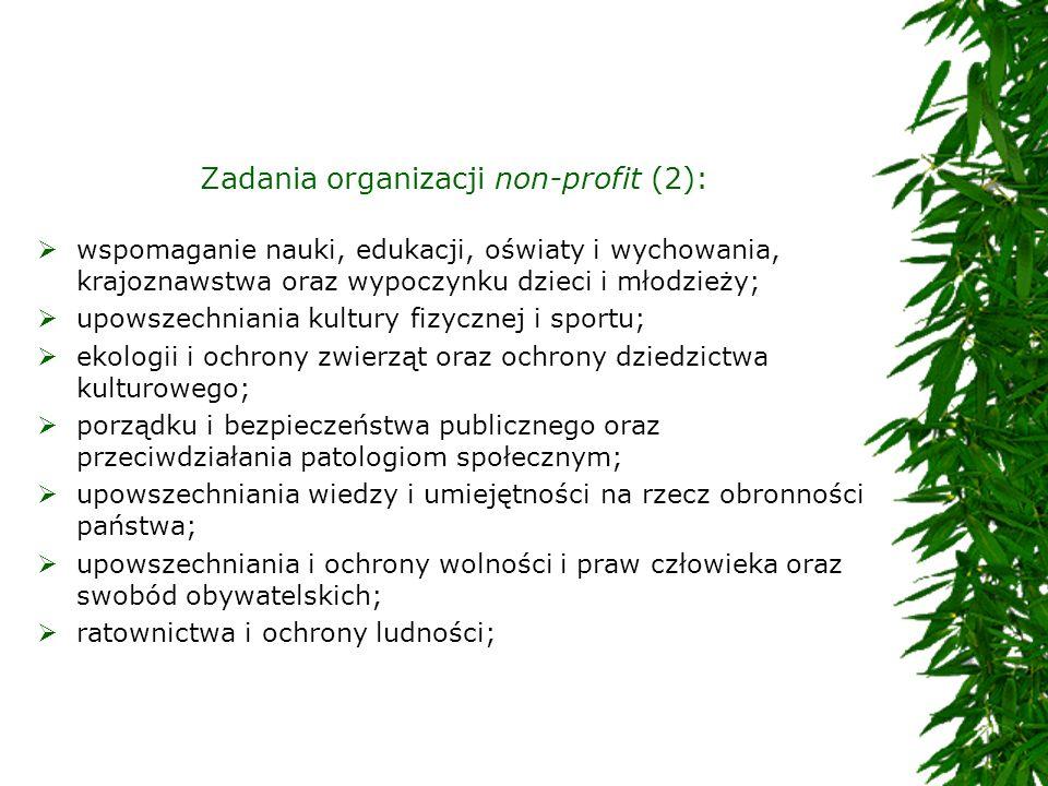 Zadania organizacji non-profit (2):