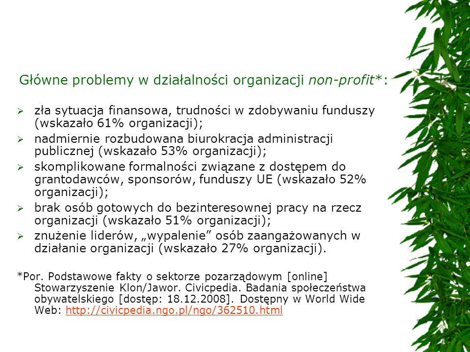 Główne problemy w działalności organizacji non-profit*: