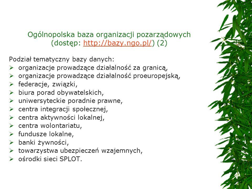 Ogólnopolska baza organizacji pozarządowych (dostęp: http://bazy. ngo