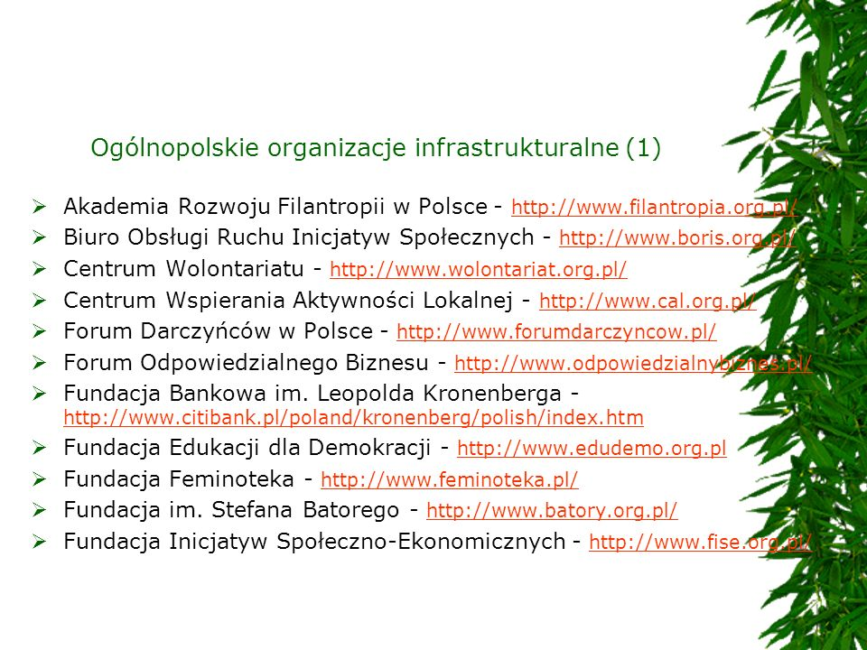 Ogólnopolskie organizacje infrastrukturalne (1)