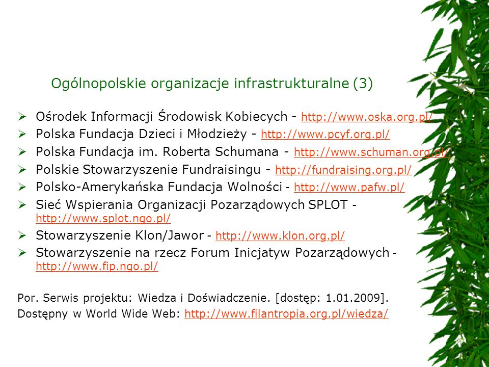 Ogólnopolskie organizacje infrastrukturalne (3)