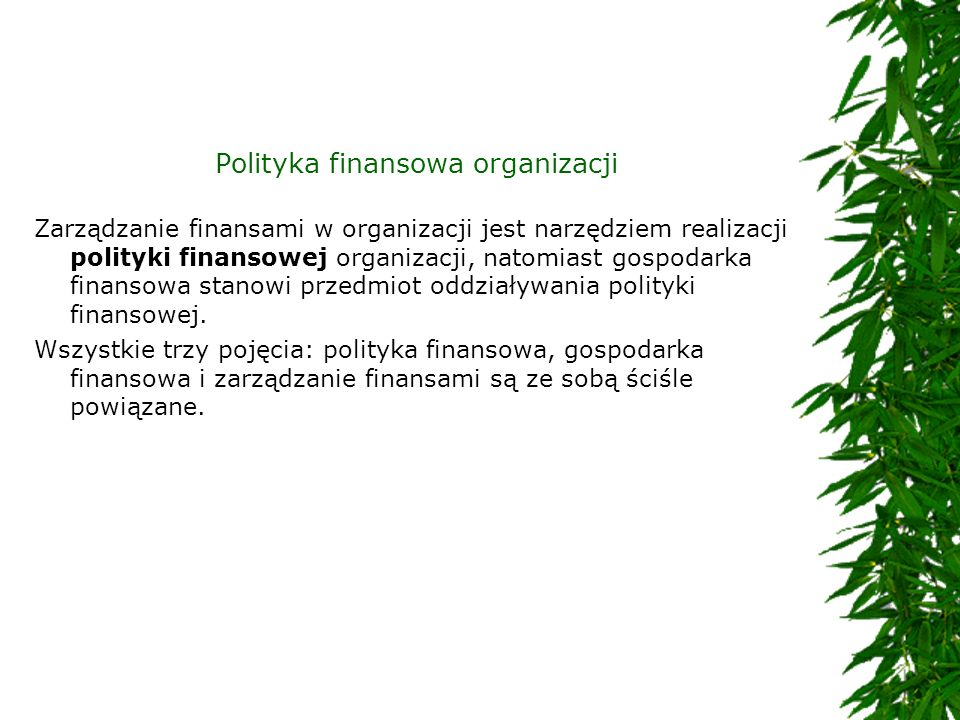 Polityka finansowa organizacji