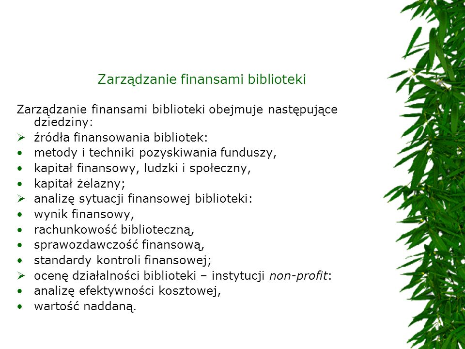 Zarządzanie finansami biblioteki