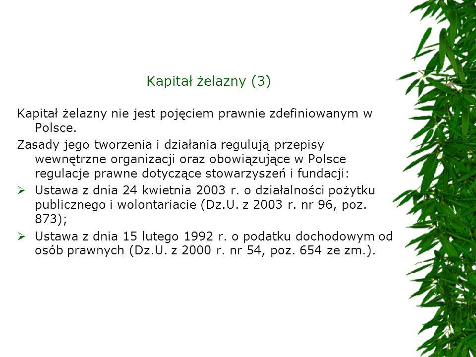 Kapitał żelazny (3) Kapitał żelazny nie jest pojęciem prawnie zdefiniowanym w Polsce.