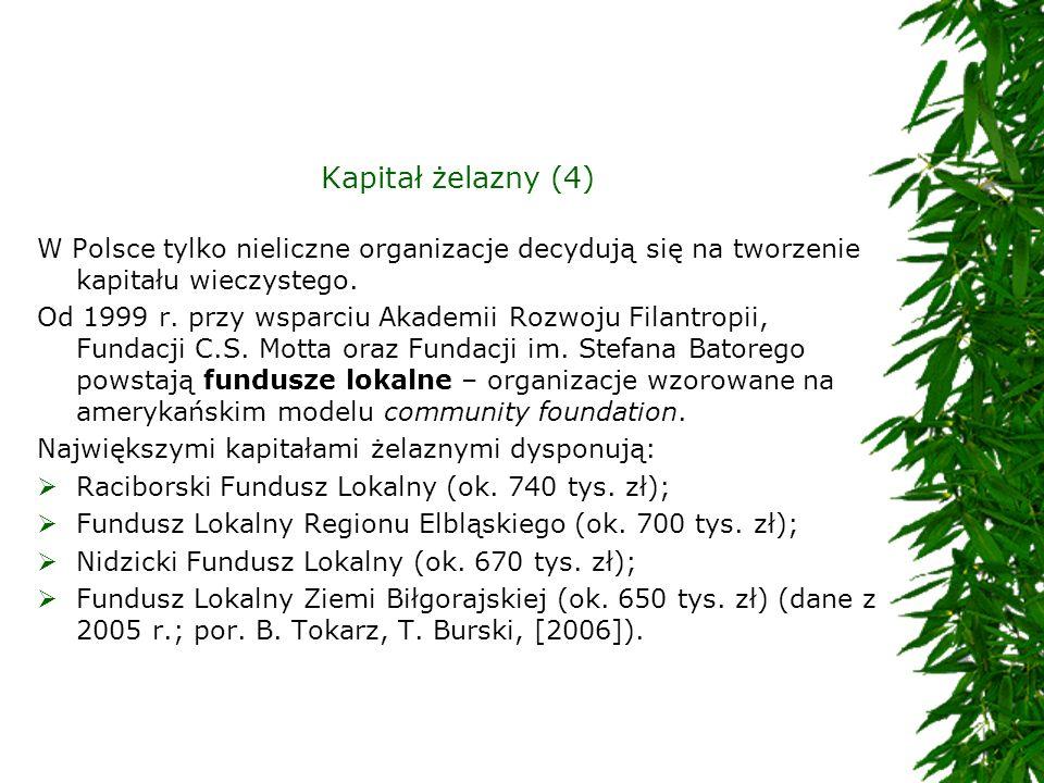 Kapitał żelazny (4)W Polsce tylko nieliczne organizacje decydują się na tworzenie kapitału wieczystego.