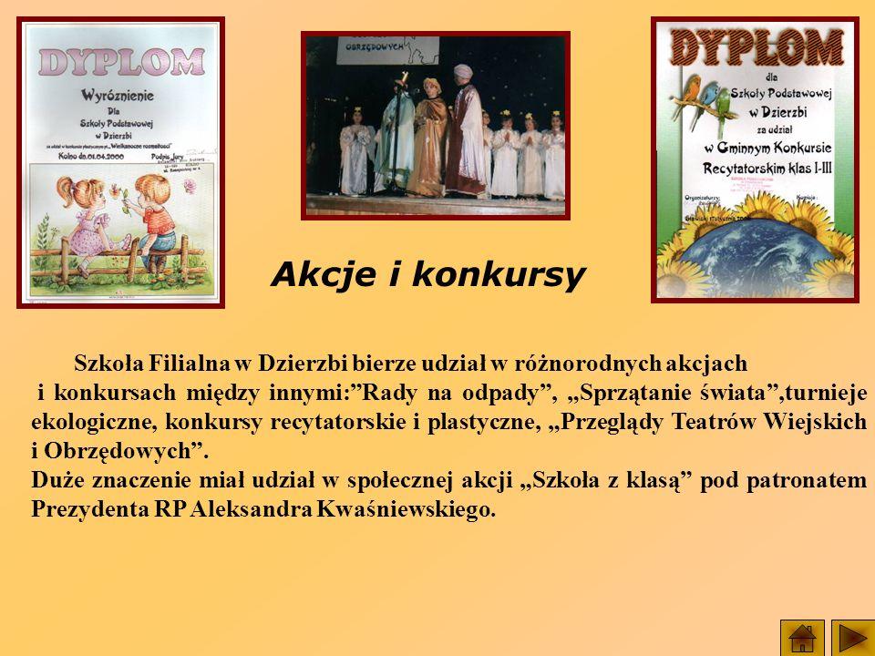 Akcje i konkursy Szkoła Filialna w Dzierzbi bierze udział w różnorodnych akcjach.
